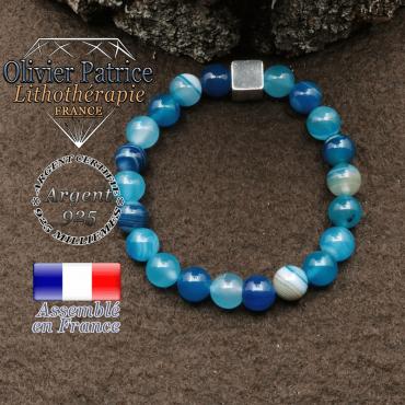 bracelet surmonte de son cube en argent 925 et en pierre naturelle agate bande bleu