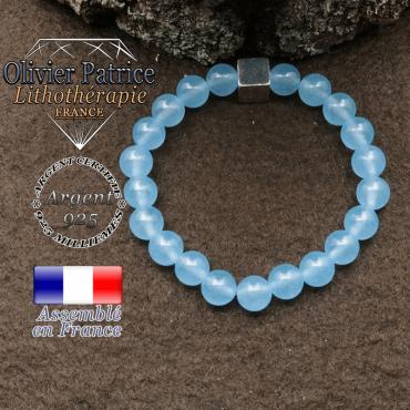 bracelet surmonte de son cube en argent 925 et en pierre naturelle agate-bleu