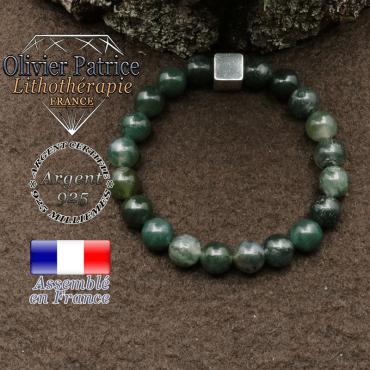 bracelet surmonte de son cube en argent 925 et en pierre naturelle agate-mousse
