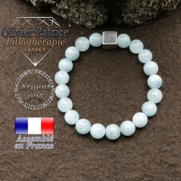 bracelet surmonte de son cube en argent 925 et en pierre naturelle aigue marine