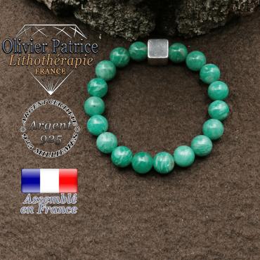 bracelet surmonte de son cube en argent 925 et en pierre naturelle amazonite-russie