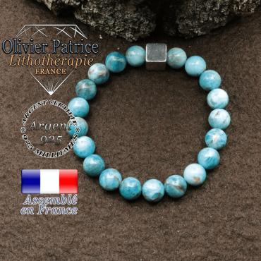 bracelet surmonte de son cube en argent 925 et en pierre naturelle apatite