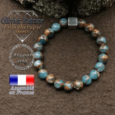 bracelet surmonte de son cube en argent 925 et en pierre naturelle bornite