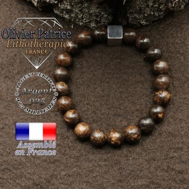 bracelet surmonte de son cube en argent 925 et en pierre naturelle bronzite