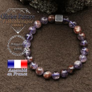 bracelet surmonte de son cube en argent 925 et en pierre naturelle cacoxenite