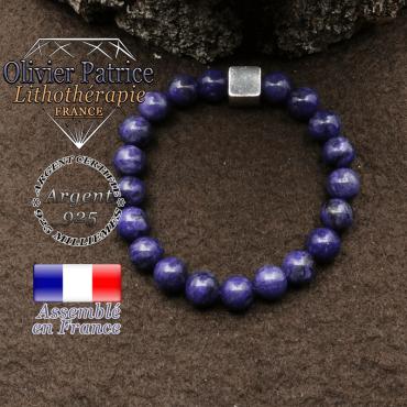 bracelet surmonte de son cube en argent 925 et en pierre naturelle charoite de russie