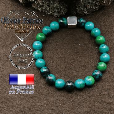 bracelet surmonte de son cube en argent 925 et en pierre naturelle chrysocolle