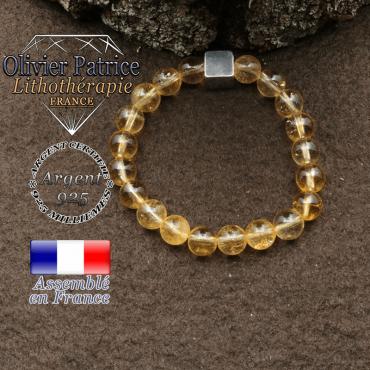 bracelet surmonte de son cube en argent 925 et en pierre naturelle citrine