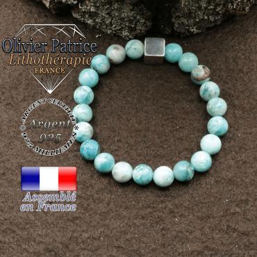 bracelet surmonte de son cube en argent 925 et en pierre naturelle hemimorphite