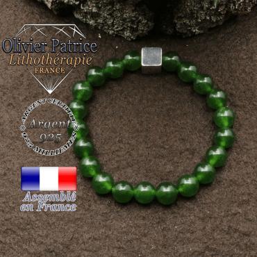 bracelet surmonte de son cube en argent 925 et en pierre naturelle jade de taiwan