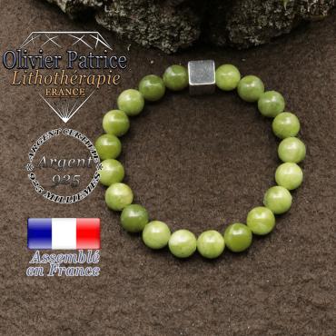 bracelet surmonte de son cube en argent 925 et en pierre naturelle jade nephrite canada