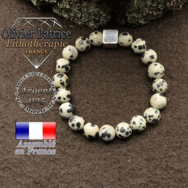 bracelet surmonte de son cube en argent 925 et en pierre naturelle jaspe dalmatien