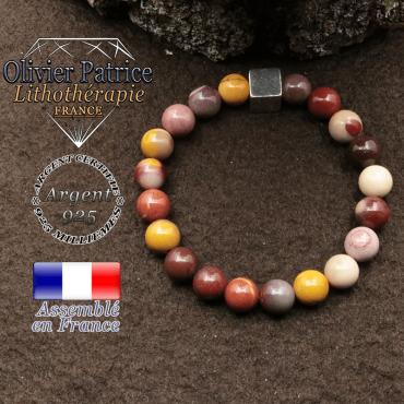 bracelet surmonte de son cube en argent 925 et en pierre naturelle jaspe mokaite