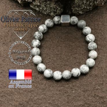 bracelet surmonte de son cube en argent 925 et en pierre naturelle jaspe crazy lace gris