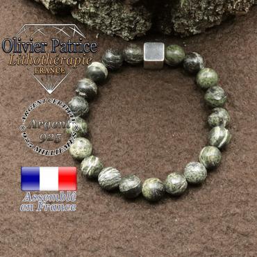 bracelet surmonte de son cube en argent 925 et en pierre naturelle jaspe vert zebre