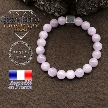 bracelet surmonte de son cube en argent 925 et en pierre naturelle kunzite