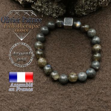 bracelet surmonte de son cube en argent 925 et en pierre naturelle labradorite