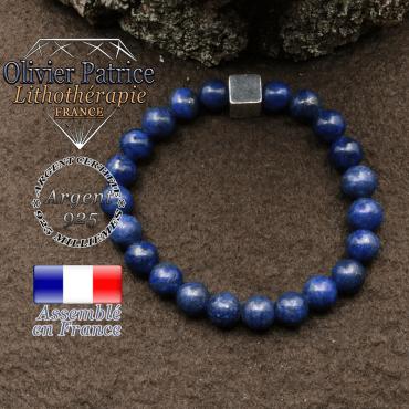 bracelet surmonte de son cube en argent 925 et en pierre naturelle lapis lazuli