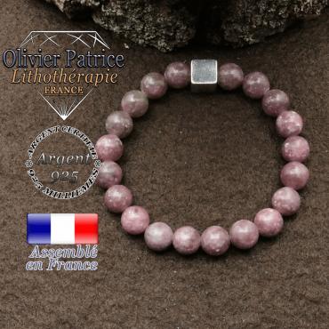 bracelet surmonte de son cube en argent 925 et en pierre naturelle lepidolite