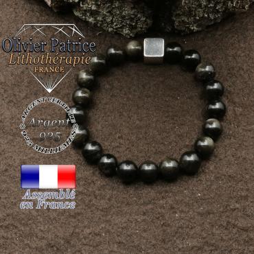 bracelet surmonte de son cube en argent 925 et en pierre naturelle obsidienne dore