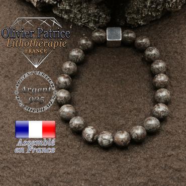 bracelet surmonte de son cube en argent 925 et en pierre naturelle obsidienne neige brune