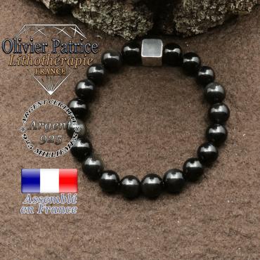 bracelet surmonte de son cube en argent 925 et en pierre naturelle obsidienne oeil celeste