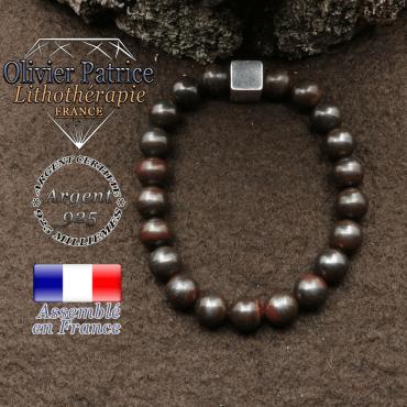 bracelet surmonte de son cube en argent 925 et en pierre naturelle oeil de fer
