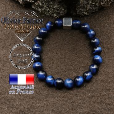 bracelet surmonte de son cube en argent 925 et en pierre naturelle oeil tigre bleu teinte
