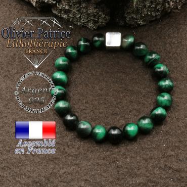 bracelet surmonte de son cube en argent 925 et en pierre naturelle oeil tigre vert teinte