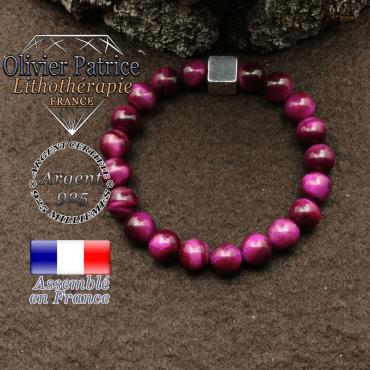 bracelet surmonte de son cube en argent 925 et en pierre naturelle oeil tigre teinte violette