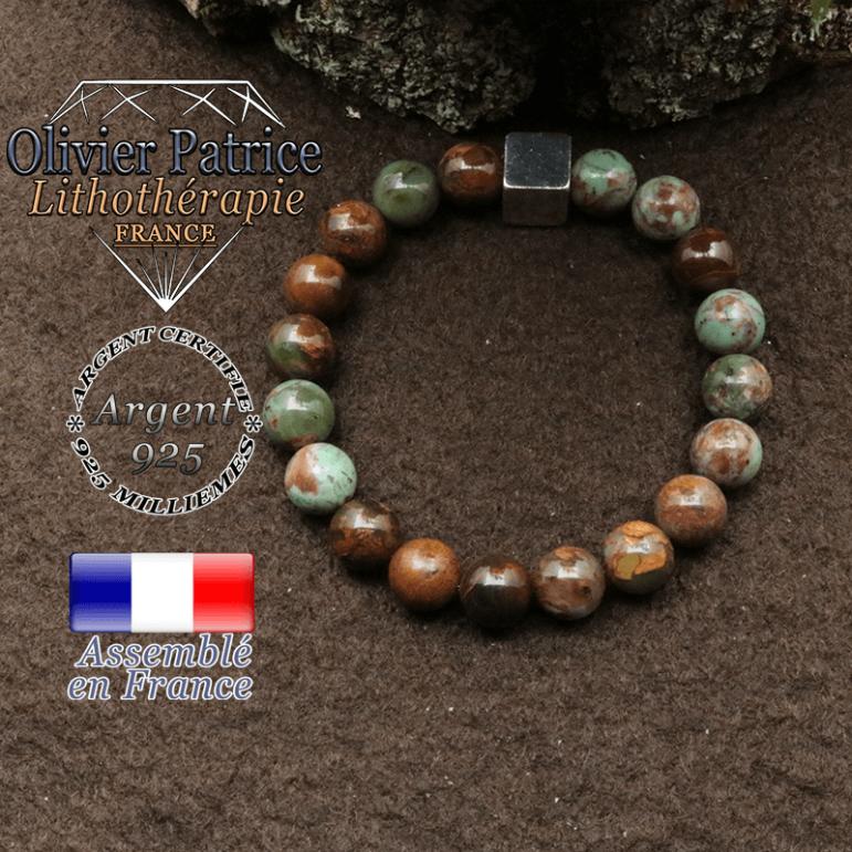 bracelet surmonte de son cube en argent 925 et en pierre naturelle opale verte africaine