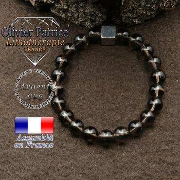 bracelet surmonte de son cube en argent 925 et en pierre naturelle quartz-fume