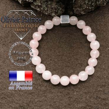 bracelet surmonte de son cube en argent 925 et en pierre naturelle quartz -rose