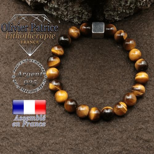 bracelet surmonte de son cube en argent 925 et en pierre naturelle oeil tigre
