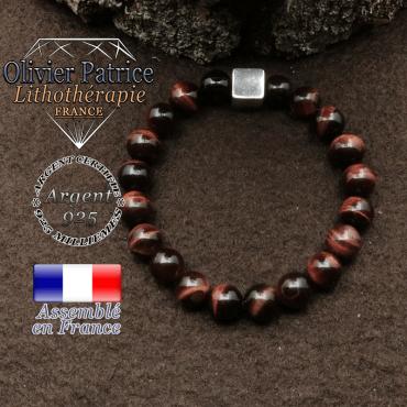 bracelet surmonte de son cube en argent 925 et en pierre naturelle oeil de taureau