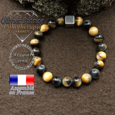 bracelet surmonte de son cube en argent 925 et en pierre naturelle oeil de faucon