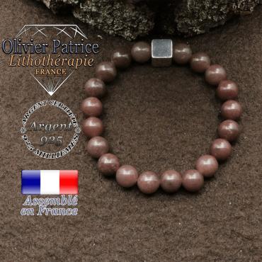 bracelet surmonte de son cube en argent 925 et en pierre naturelle quartz vin