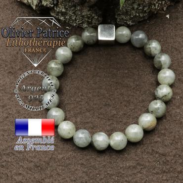 bracelet en pierre naturelle en labradorite et son cube de 10mm en argent 925