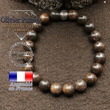 bracelet en bronzite pierre naturelle et sa boule croix en argent 925