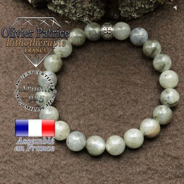 bracelet en labradorite pierre naturelle et sa boule croix en argent 925