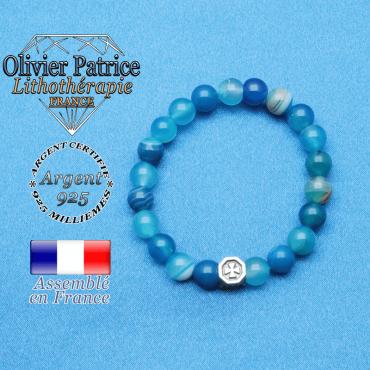 bracelet cube croix en argent 925 et sa pierre naturelle agate bleu a bande