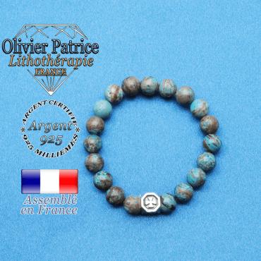 Bracelet cube croix en argent 925 et sa pierre naturelle en agate crazy lace bleu