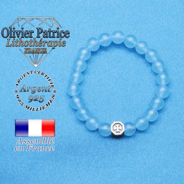 bracelet cube croix en argent 925 et sa pierre naturelle en agate bleu