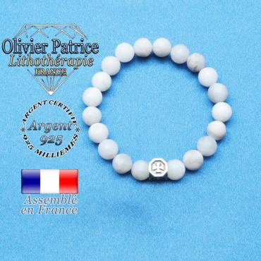 bracelet cube croix en argent 925 et sa pierre naturelle en agate grise