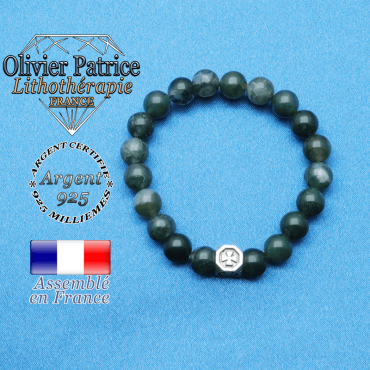 bracelet cube croix en argent 925 et sa pierre naturelle en agate mousse