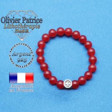 bracelet cube croix en argent 925 et sa pierre naturelle en agate rouge