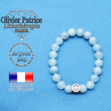 bracelet cube croix en argent 925 et sa pierre naturelle en aigue marine