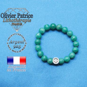 bracelet cube croix en argent 925 et sa pierre naturelle en amazonite de russie