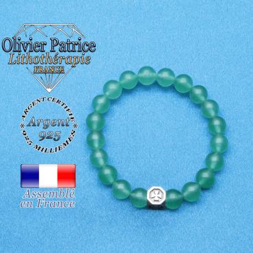 bracelet cube croix en argent 925 et sa pierre naturelle en aventurine