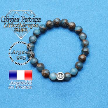 bracelet cube croix en argent 925 et sa pierre naturelle en bornite